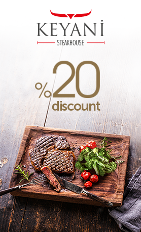 During the day, exclusively for our hotel guests, the Keyani Steakhouse offers a 20% discount on special meals with soft drinks.